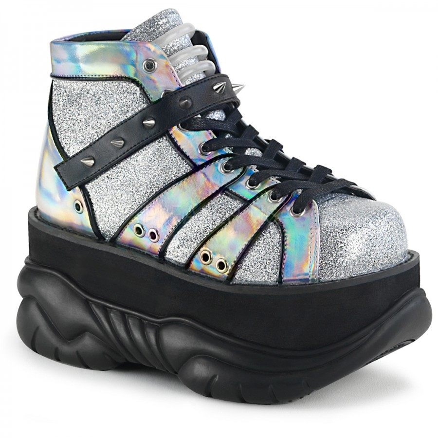 b404434309c4 Neptune Silver Holographic Mens Platform Shoes at ShoeOodles Shoes for Women
