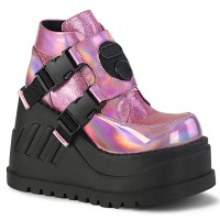 Stomp Pink Hologram Wedge Ankle Boot
