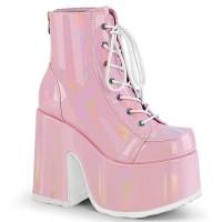 Pink Hologram Chunky Platform Ankle Boots