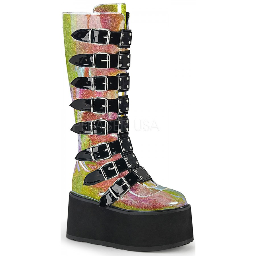 e3030b4c0 Damned Shimmering Pink Glitter Knee Boots at ShoeOodles Shoes for Women,  Men and Children,
