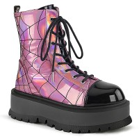 Spiderweb Pink Hologram Slacker Ankle Boots