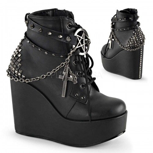 Pentagram Charm The Craft Gothic Ankle Boot at ShoeOodles Shoes for Women, Men and Children,  Oodles of Shoes for Men, Women & Children