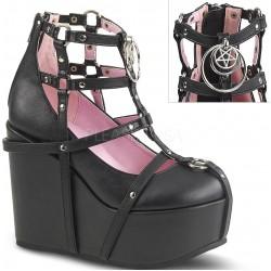 Pentagram Charm Poison Black Cage Wedge Gothic Shoe
