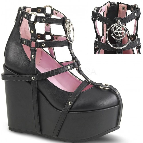 Pentagram Charm Poison Black Cage Wedge Gothic Shoe at ShoeOodles Shoes for Women, Men and Children,  Oodles of Shoes for Men, Women & Children
