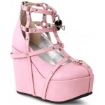 Heart Charm Poison Pink Cage Wedge Gothic Shoe at ShoeOodles Shoes for Women, Men and Children,  Oodles of Shoes for Men, Women & Children
