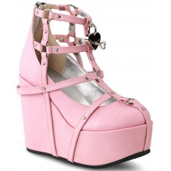 Heart Charm Poison Pink Cage Wedge Gothic Shoe ShoeOodles Shoes for Women, Men and Children  Oodles of Shoes for Men, Women & Children