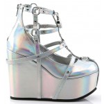 Heart Charm Poison Hologram Cage Wedge Gothic Shoe at ShoeOodles Shoes for Women, Men and Children,  Oodles of Shoes for Men, Women & Children