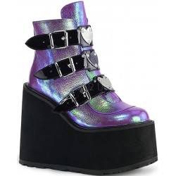 Purple Iridescent Platform Wedge Ankle Boots ShoeOodles Shoes for Women, Men and Children  Oodles of Shoes for Men, Women & Children