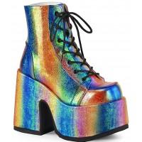 Rainbow Iridescent Chunky Platform Boots