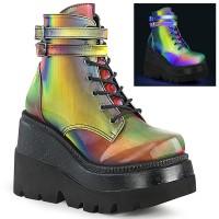 Rainbow Reflective Wedge Heel Womens Ankle Boot