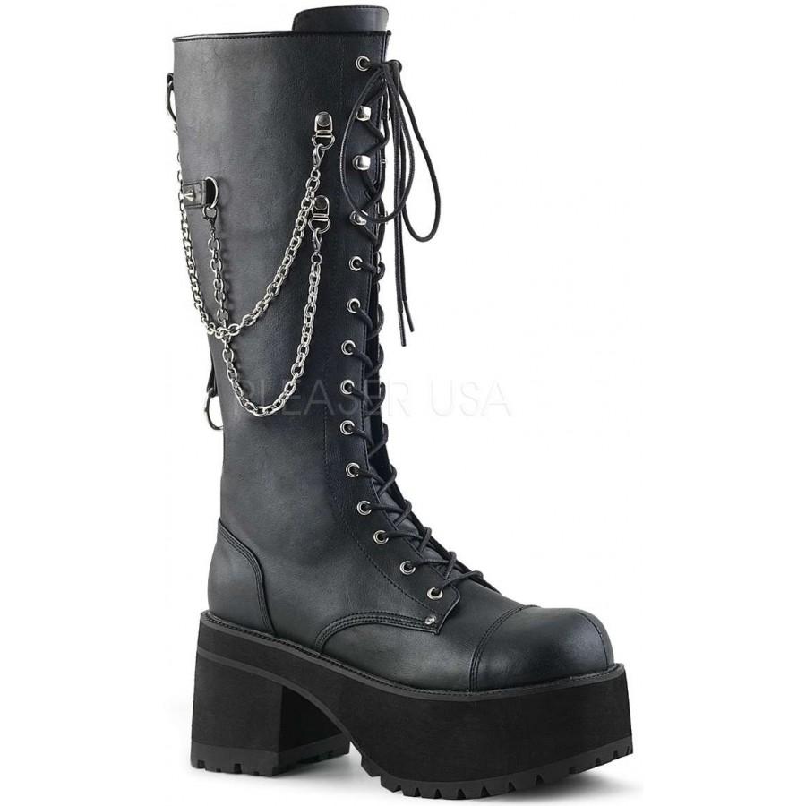 Vegan Leather Knee High Combat Boot