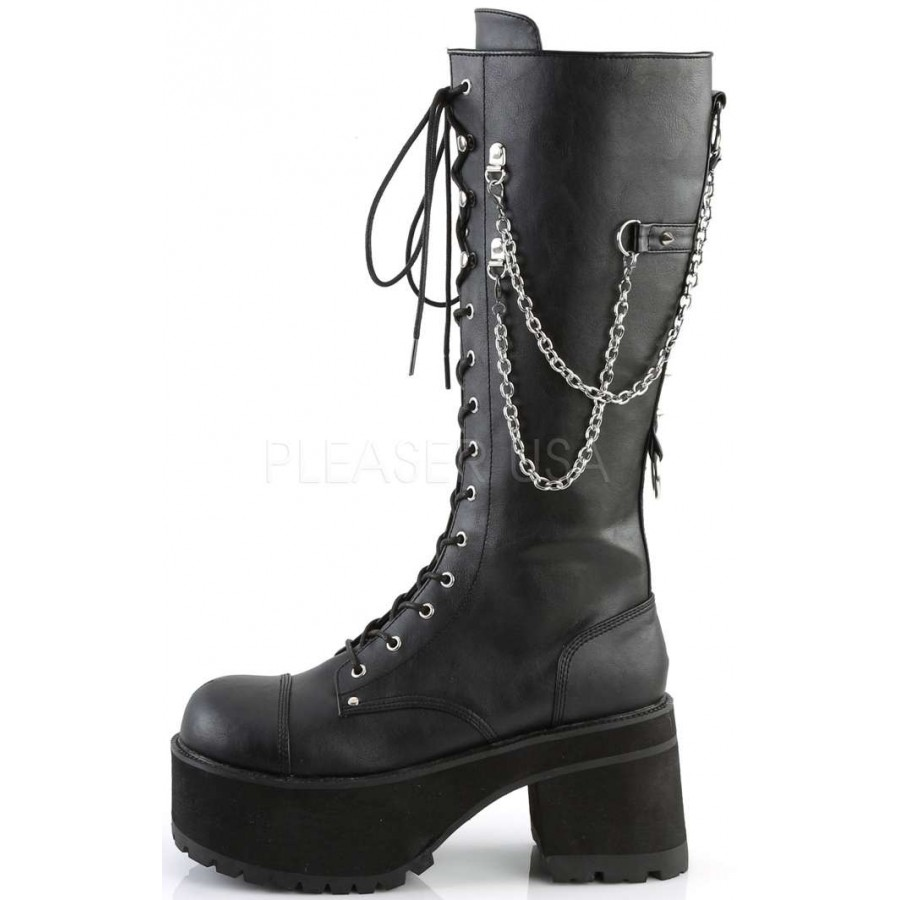 97a1779eb3f ... Ranger Mens Knee High Combat Boot with Chains at ShoeOodles Shoes for  Women