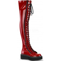 Emily Red Patent Thigh High Gothic Platform Boot