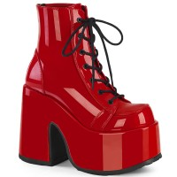 Red Chunky Platform Ankle Boots