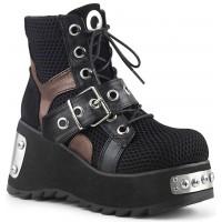 Scene Wedge Platform Grommet Fishnet Ankle Boots