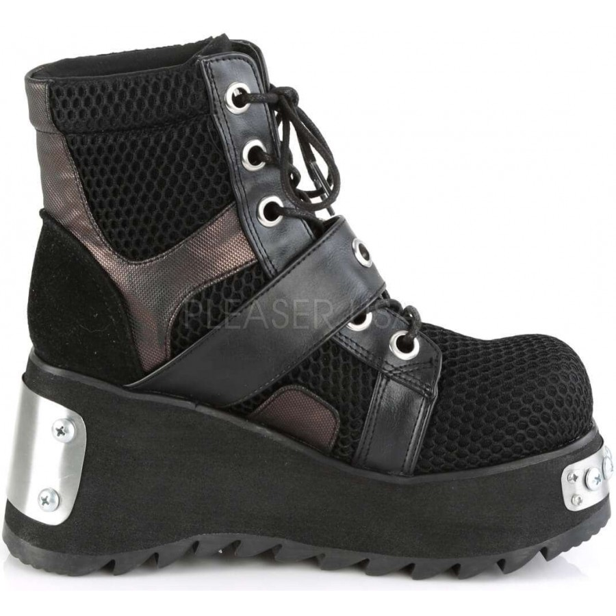 59ae8115d5 ... Scene Wedge Platform Grommet Fishnet Ankle Boots at ShoeOodles Shoes  for Women, Men and Children ...