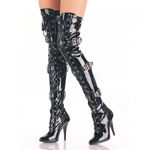 Seduce Buckled Black Patent Thigh High Boots