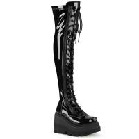 Shaker Black Patent Womens Thigh High Gothic Platform Boot