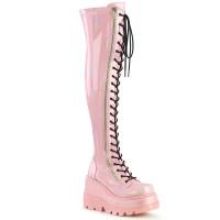 Shaker Pink Hologram Womens Thigh High Gothic Platform Boot