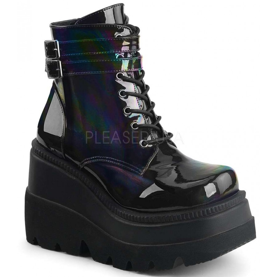 851bb49b4ca Shaker 52 Lace Up Front Stacked Wedge Ankle Boot