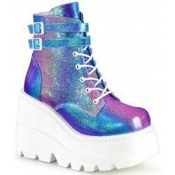 Purple Iridescent Wedge Heel Womens Ankle Boot