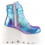 Purple Iridescent Wedge Heel Womens Ankle Boot at ShoeOodles Shoes for Women, Men and Children,  Oodles of Shoes for Men, Women & Children
