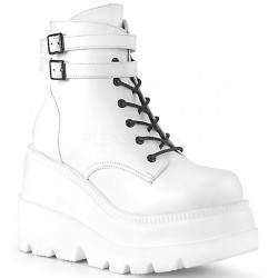 Shaker 52 White Stacked Wedge Ankle Boot