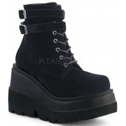 Shaker 52 Black Velvet Stacked Wedge Ankle Boot ShoeOodles Shoes for Women, Men and Children  Oodles of Shoes for Men, Women & Children
