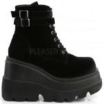 Shaker 52 Black Velvet Stacked Wedge Ankle Boot at ShoeOodles Shoes for Women, Men and Children,  Oodles of Shoes for Men, Women & Children