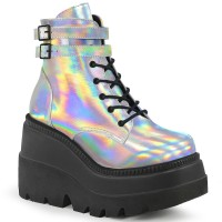 Silver Reflective Wedge Heel Womens Ankle Boot