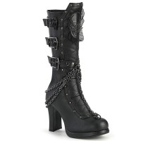 Crypto Skull and Coffin Black Knee Boot
