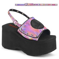 Skull and Crossbone Pink Hologram Platform Convertible Mule