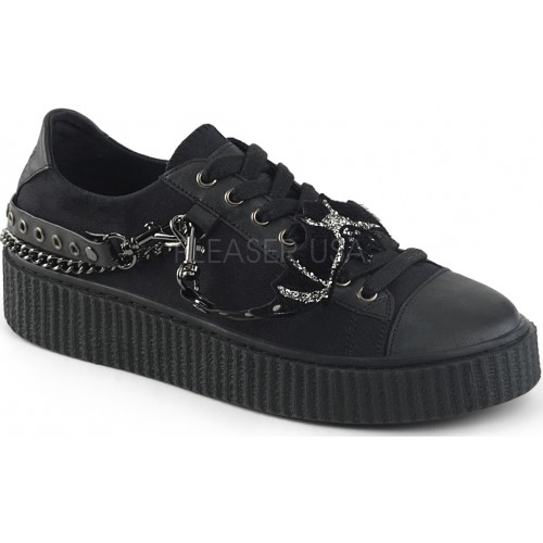 Black Bat Gothic Low Top Bondage Strap Sneaker at ShoeOodles Shoes for Women, Men and Children,  Oodles of Shoes for Men, Women & Children