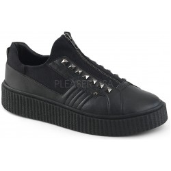 Zipped Black Studded Gothic Low Top Sneaker ShoeOodles Shoes for Women, Men and Children  Oodles of Shoes for Men, Women & Children
