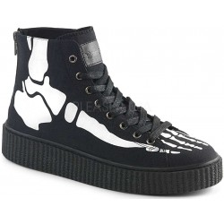 XRay Bone Print Black Canvas High Top Sneaker ShoeOodles Shoes for Women, Men and Children  Oodles of Shoes for Men, Women & Children