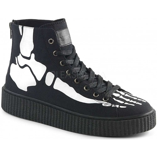 XRay Bone Print Black Canvas High Top Sneaker at ShoeOodles Shoes for Women, Men and Children,  Oodles of Shoes for Men, Women & Children