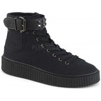 Belt Strapped Black Canvas High Top Sneaker