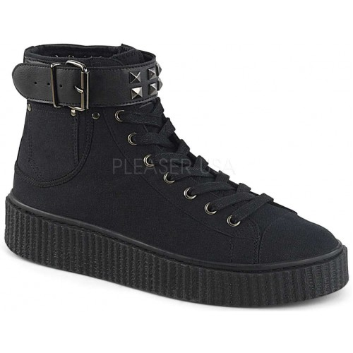 Belt Strapped Black Canvas High Top Sneaker at ShoeOodles Shoes for Women, Men and Children,  Oodles of Shoes for Men, Women & Children