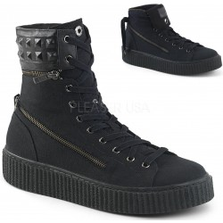 Removable Cuff Black Canvas High Top Sneaker ShoeOodles Shoes for Women, Men and Children  Oodles of Shoes for Men, Women & Children
