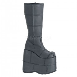 Mens Platform Patched Knee Boot