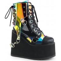 Hologram Bondage Strap Black Gothic Ankle Boots