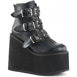 Black Faux Leather Swing 105 Platform Ankle Boot ShoeOodles Shoes for Women, Men and Children  Oodles of Shoes for Men, Women & Children