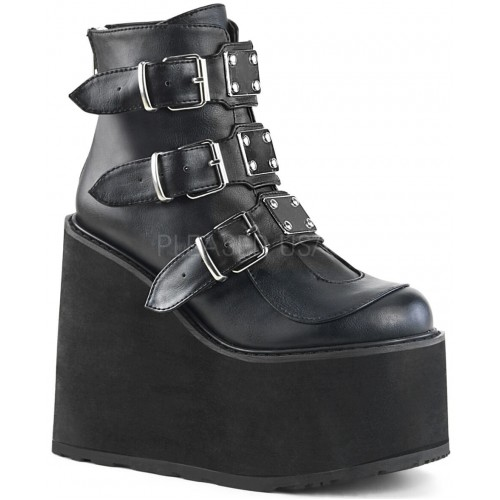 Black Faux Leather Swing 105 Platform Ankle Boot at ShoeOodles Shoes for Women, Men and Children,  Oodles of Shoes for Men, Women & Children
