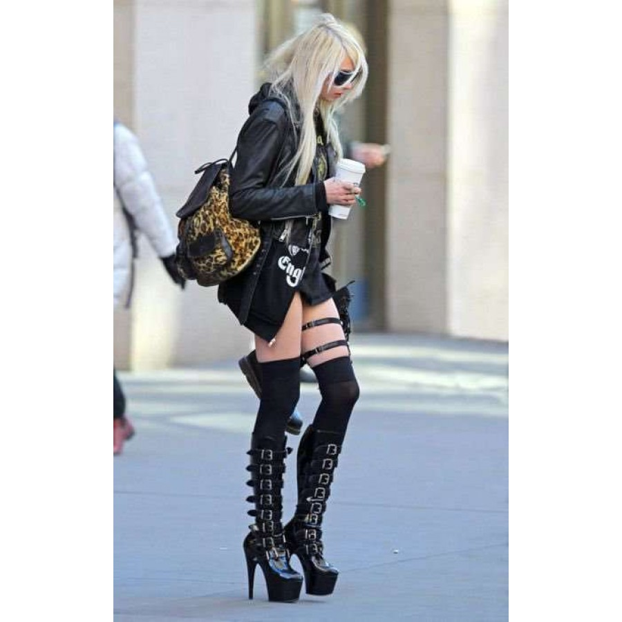 Buckled Adore Knee High Platform Boots Celebrity Style