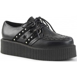 Black Stars and Stripes Faux Leather Mens Creeper Loafer