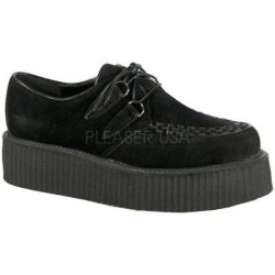 Black Faux Suede Mens Creeper Loafer