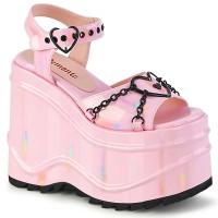 Wave Platform Pink Heart Buckled Platform Sandal