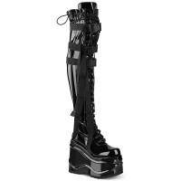 Wave Black Patent Womens Thigh High Gothic Platform Boot
