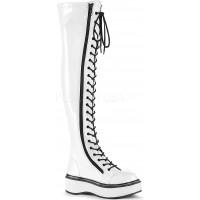 Emily White Patent Thigh High Gothic Platform Boot