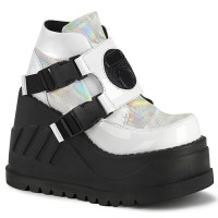 Stomp White Hologram Wedge Ankle Boot